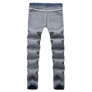 Blue Light Etero Jeans Uomo di mezza vita regolare Lavato con Cerniera Mens jeans maschio pantaloni lunghi