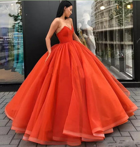 Vintage Orange Ballkleid Abendkleider 2019 Schatz Formale Vestido De Festa Lange Abendkleid Pageant Party Kleider