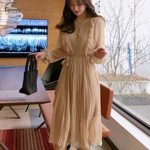 Bgteever Vintage-O Ansatz Rüschen Chiffon Frauen Kleid Aufflackern-Hülsen-Polka-Punkt-Spitze-Up Female Kleid zwei Schichten Plissee Vestidos