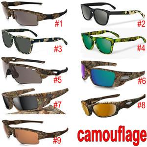 Nouveau camouflage Camo Designer Lunettes de soleil Lunettes de soleil de cadre en verre Sun 9 modèles avec des paquets de cas de fermeture à glissière 1pcs