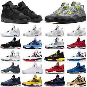 Cheap neon 4 4s men women basketball shoes black cat Court Purple cactus jack athletics mens womens trainers sports sneakers size 5.5-13