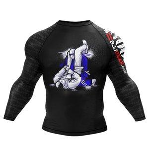 Мужчины цифровой печати Tshirt ММА BJJ джиу джитсу Сухой Fit Сыпь гвардейской Фитнес Спорт Топы Y200611