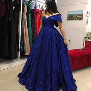Azul marinho Lantejoulas Vestidos de um ombro A Linha Prom Vestidos Arábia Saudita até o chão vestido de festa Custom Made