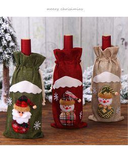 Рождество Пивные бутылки крышка сумка Сант-Клаус подарков Олень Снежинка Elf красного вино Bundle Карман для Веселых рождественских украшений A03