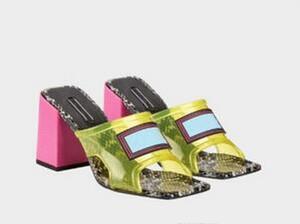Designer-C-Kristall Sandalen Slides High heels Sommer Indoor Designer transparente Kristall Weibliche Slipper Schuhe 42 43