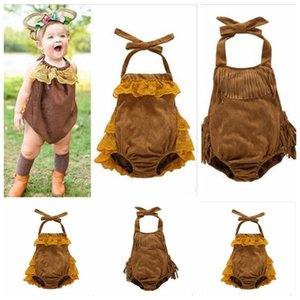 Baby Jumpsuits Girls Tassels Sling Rompers Kids Lace Triangle Jumpsuit Infant Bowknot Suspenders Bodysuits Fashion Princess Onesies ZYQA538