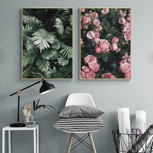 Moderna Nordic Green Leaf fiore della Rosa di tela di canapa pittura scandinava Botanico poster Stampe Wall Art Immagini per Living Room Home Decor