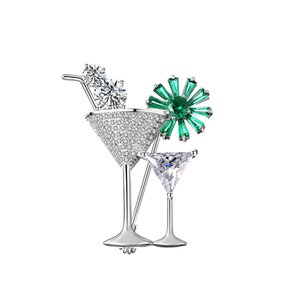 Na moda Elegante Copper Broche De Cocktail Copo E Belas Flores Destaque Temperamento De Cobre Zircão Broche Pin de Alta Qualidade