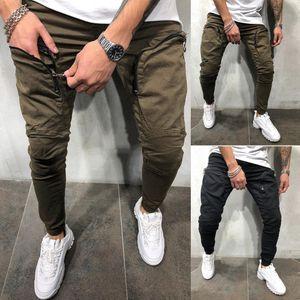 Moda Erkekler Pantolon kabartılmış Jogger Hip Hop Elastik Spor Slim Fit Stretch Pantolon