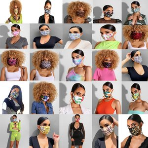 WOMEN Luxury Face Mask Fashion Print Design Mouth Masks Women Girls Outdoor Cycling Breathable Mouth-muffle Reusable Washable Masks