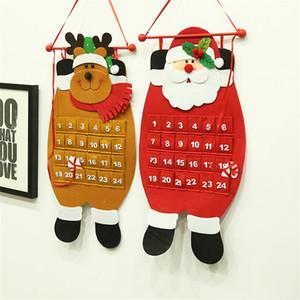 Christmas Countdown Advent Calendar Felt Haning pano de Papai Noel Boneco Elk Ornamentos Xmas do presente do ano novo do Natal Decoração Prop JK1910