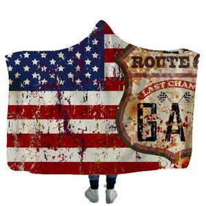 EUA Bandeira Americana Cobertores Com Capuz Quatro de Julho Lance Cobertor com Capuz Macio Sherpa Cobertores de Lã Envoltório Dia Indenpance para crianças