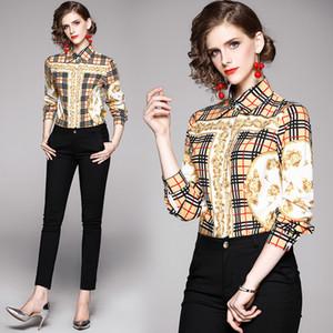 2020 Frauen Art und Weise gedruckte Plaid Shirt in Übergrößen-Qualitäts-Langarm-Runway Damen-Knopf Blusen Beiläufiges Büro Designer Shirts Tops