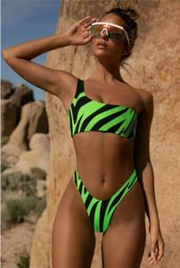 Femmes Designer animal rayé Bikinis sexy creux d'une épaule Out Maillots de bain Mode Nature Couleur Maillot de bain femme Vêtements Natation