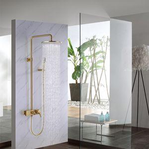 Massives Messing gebürstet Gold / Schwarz / Chrom Wand befestigten Dusche-Mischer-Badezimmer-Dusche-Hahn