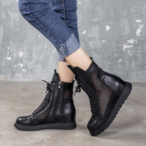 Sandalias de cuero con los zapatos VALLU netos, 2020 nuevas sandalias de cuero, en forma de bota cordones