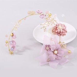 Свинка Фиолетовый серии Невеста головной убор ручной цветок золотой лист Branch цветок свадебное платье Украсить волос