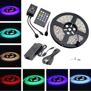 5050 RGB Музыка Светодиодные полосы света DC 12V 60 светодиодов / м 20 Ключ контроллер 5А Блок питания черный / белый PCB