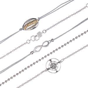 2019 Bohemian Bracelet Heart Compass  Chain Bracelets For Women Sliver Color Chain Bracelets Sets Cuff Mujer Pulseras Femme
