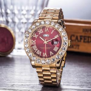 2020 45MM diamante watche relogio masculino mens relógios vestido de luxo designer de moda Black Dial Duplo calendário pulseira de ouro Fecho dobrável
