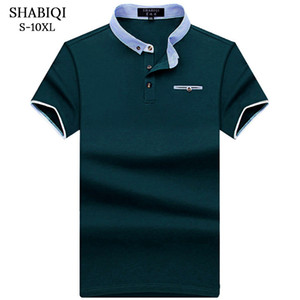 Shabiqi 새 브랜드 폴로 셔츠 남성 코튼 패션 포켓 모델 캐미솔 폴로 여름 짧은 소매 캐주얼 셔츠 6xl 7xl 8xl 9xl 10xl MX190711