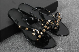 New 2017 Woman Summer Sandals Rivets big bowknot Flip Flops Beach Sandalias Femininas Flat Jelly Designer Sandals