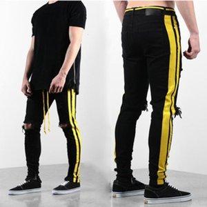Mens Designer Jeans Mens Distressed Zipper Skinny Jeans Men Hip Hop Pants Mens Designer Hole High Qualiy Denim Pants 3 Colors JEEZ