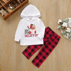Neue Kinderbekleidung fallen Jungen und Mädchen Weihnachtsbrief tragen mit Kapuze langärmeligen T-Shirt und Hose 2-teiliges Set P03