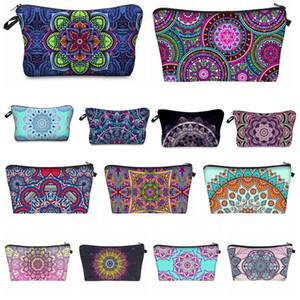 Bohemia Mandala Floral 3D Print Cosmetic Bags Women Travel Makeup Case Women Handbag Zipper Cosmetic Bag Flower Printed Bag 24colors F0132