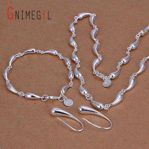 GNIMEGIL das gotas de água Set Atacado Silver Plated Conjunto de Jóias 925 Jóias Presentes Água queda colar pulseiras, brincos