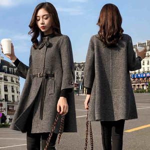 Woherb tela escocesa capa de las mujeres del collar del soporte del cordón de las chaquetas del foso de la vendimia invierno Prendas de Corea moda de Nueva Abrigos Mujer Invierno
