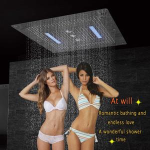 LED 천장 샤워 헤드 광장 욕실 럭셔리 샤워 스테인리스 304 큰 오버 헤드 샤워 더블 비가 폭포 소용돌이 DF5424