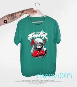 2018 New Arrival Mens T Shirt Boxing Cat Cartoon T Shirt Summer 3D Printed Short Sleeve Tees 12 Colors Unisex Couple Clothingtc05
