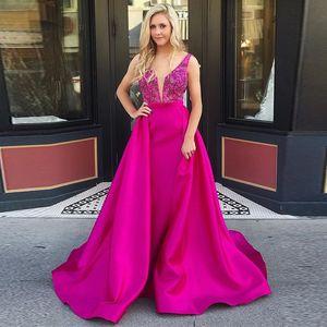 Impresionante fucsia sirena vestidos de noche Overkirt abalorios con cuello en V vestido de satén Celebrity Plus Size Boutique Ocasión Vestido 2019