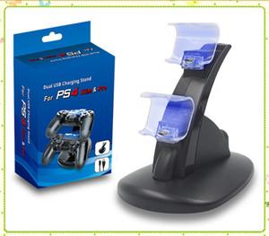 PlayStation 4 PS4 Xbox One Oyun Kablosuz Kumanda ile Perakende Kutu MQ100 için LED Çift Şarj dock Dağı USB Şarj Standı