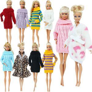 Main Multicolor Mini pull en tricot manteau de fourrure Poupée Accessoires Tops Robes Vêtements Vêtements de loisirs pour poupée Barbie jouets enfants