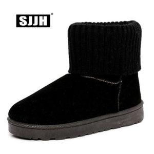 SJJH Stivali da neve alla caviglia da donna con punta tonda piatta con slip-on breve peluche Stivale casual Scarpe invernali moda casual per ragazze A1370