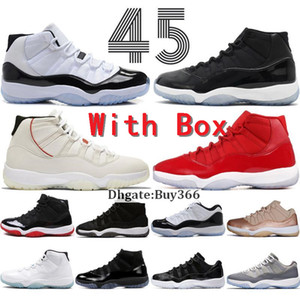Commercio all'ingrosso di New Concord 11 Bred 11s scarpe da basket con Box Platinum Tint Space Jam Blackout 11 Prom Night Black palestra Red Formatori