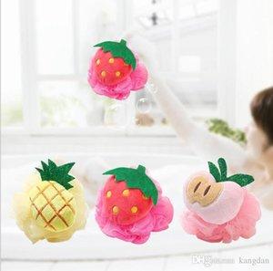 Nueva forma creativa de la manera frutas Baño de bola de baño baño de esponja frotamiento Toalla modelado encantador limpieza corporal exfoliante de ducha del baño del cepillo