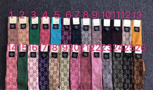 2020 Newes Gloden Slik Lettre pour femmes antibactériennes Déodorant Coton Sport Mode Chaussettes 1pairs avec boîte-cadeau Chaussettes longues Stocking