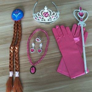 7pcs / Set Cospaly Kostüm accessores Giydirme Kız Sihirli Değnek + Eldiven + Eldiven + Rhinestones Kolye + Küpe + Yüzük Noel hediyeleri XD21975 ayarlar