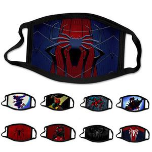 2020 Moda Uomo Ragno Spiderman super hero di design di lusso Bambini Maschera per il viso maschere di Cosplay del partito riutilizzabile polvere lavabile in cotone antivento