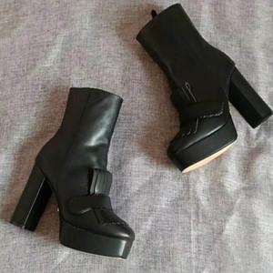 الرباط حتى المسامير الدراجات النارية أحذية نسائية جولة تو عالية الكعب مارتن أحذية نسائية قصيرة القطيفة الكاحل أحذية للمرأة