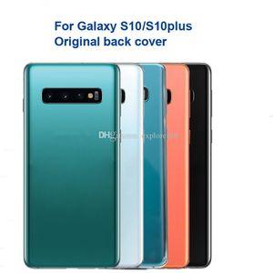 Оригинальный Заднее стекло для Samsung Galaxy S10 Plus S10e край крышки батареи Дверь задняя Корпус Корпус + объектив камеры Рама клей Замена 10Pcs