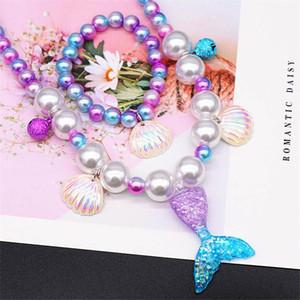 Ins Meerjungfrau Mädchen Schmuck Muschel Mädchen Halskette + Armband + Ohrringe + Ring 4 teile / set Mode Mädchen Ear Clip Kinder Ringe