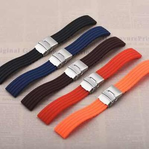 Sports waterproof one over the strap folding buckle soft silicone strap 18mm20mm22mm24mm watch accessories