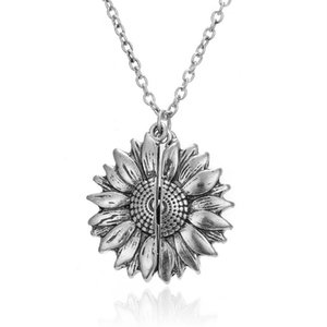 Retro Carved Sunflower Openable Locket Simple And Elegant Fashion Cute Necklace Love Gift for Women Jewelry