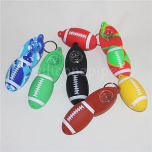Rig tabacoo cachimbo de silicone de silicone tubo de mão da colher de futebol Hookah Bongos de óleo de silicone dab rigs livre DHL