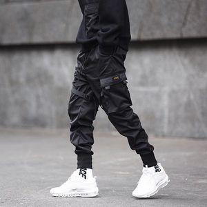 Calças QNPQYX New Men moda calça fitas de cor Black Block bolso de carga Harem Corredores Harajuku Sweatpant Hop Calças Hip