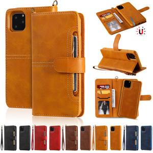 Para iPhone 11 Pro XS Max XR SE 8 7 Plus 2en1 magnética desmontable extraíble Teléfono Monedero de cuero del caso para los casos de Samsung S20